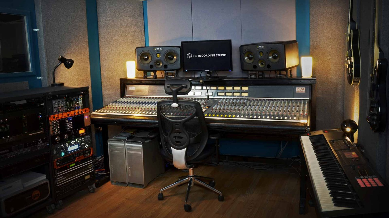 The Recording Studio London control room dda 48 channel analogue console adam monitors piano keyboard